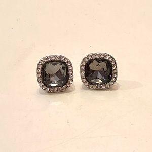 Black/Dark Grey stone stud earrings